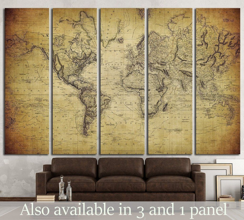 vintage map of the world №1324 Canvas Print | Wrapped canvas ...