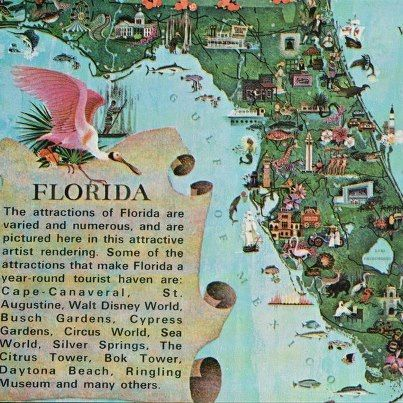 Cool tourism poster from the Old Florida page Oviedo \ Florida - new unique world map poster