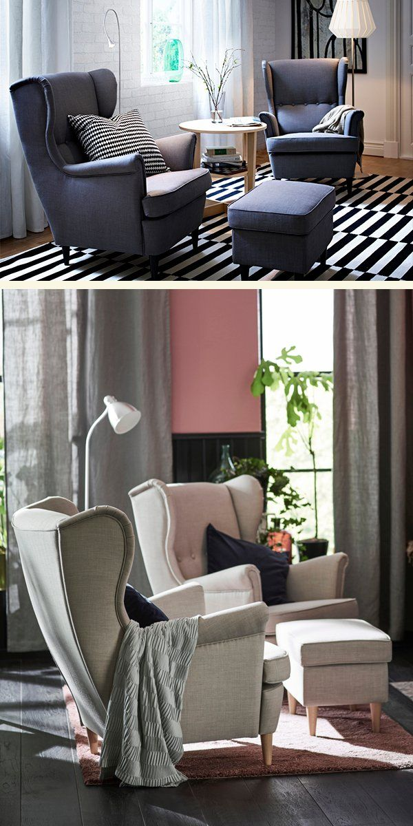 Bringing New Life To An Old Favorite The Ikea Strandmon Wing Chair Makes The Perfect Addition To Any L Ikea Living Room Small Sitting Rooms Living Room Chairs