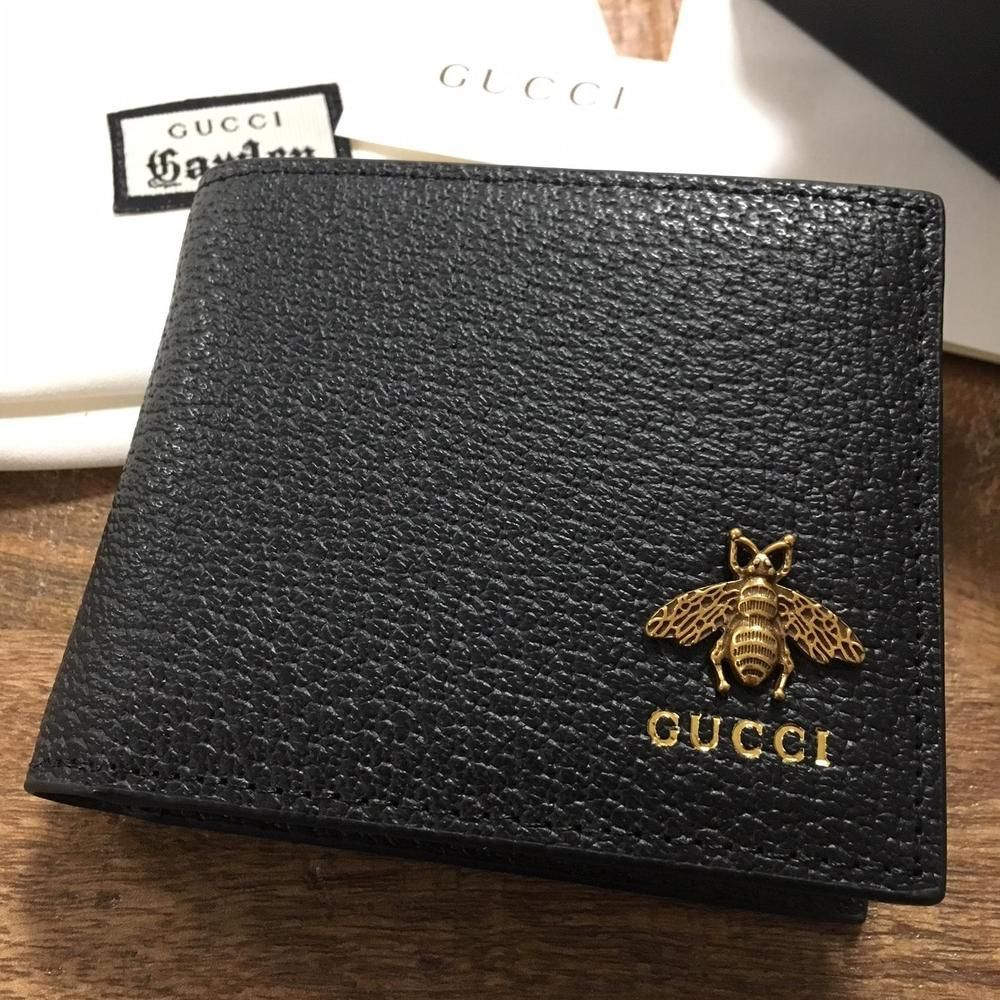 97f49cc1a25f77 Authentic GUCCI NEW COLLECTION Mens Bi Fold Black Leather Wallet Supreme w/ Box #fashion #clothing #shoes #accessories #mensaccessories #wallets (ebay  link) ...