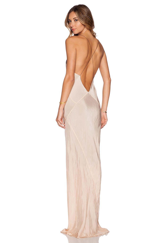 TITANIA INGLIS Long Plunge Dress in Nude