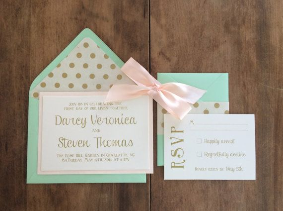 Mint and blush wedding invitations Wedding Stationery