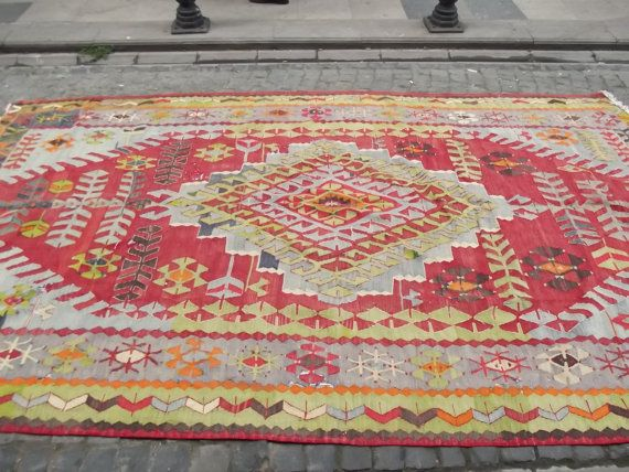 Decorative Red Turkish Kilim Rug Light Green N By Sheepsroad 1380 00