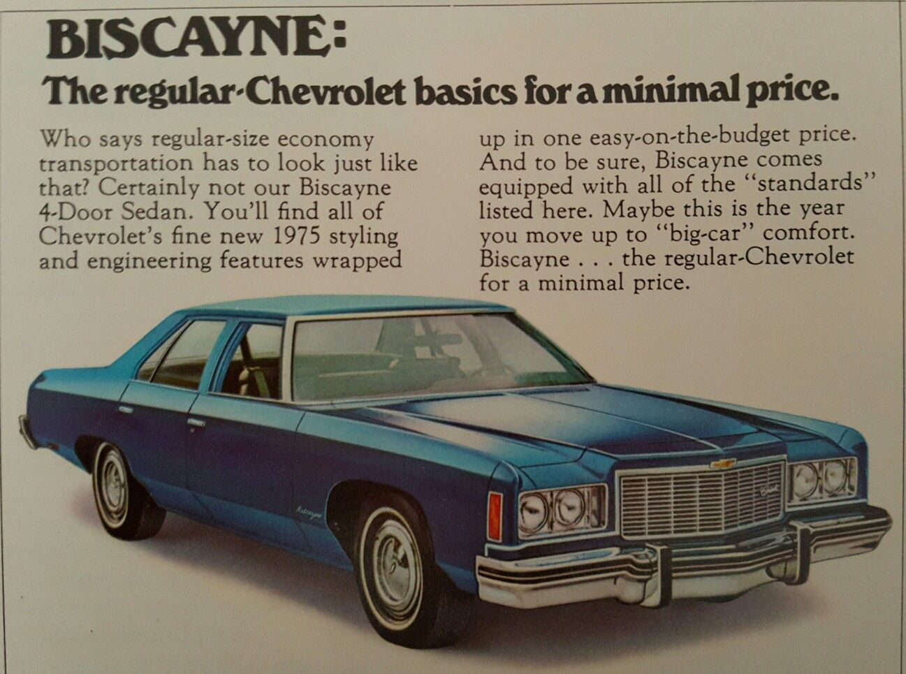 1975 Chevrolet Biscayne   Car Ads   Pinterest   Chevrolet  Cars and     1975 Chevrolet Biscayne