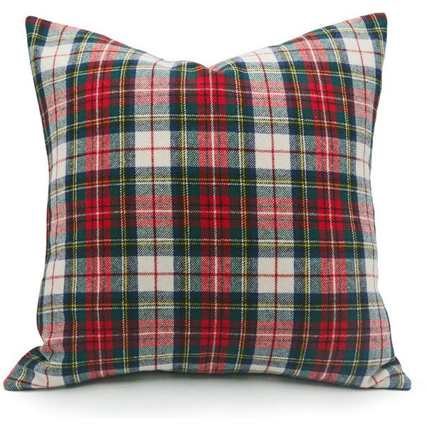 red christmas pillow cover 20x20 white red wool plaid pillows tartan 1