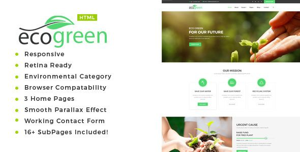 Ecogreen - Environment \/ Non-Profit HTML Template Website themes - profit template