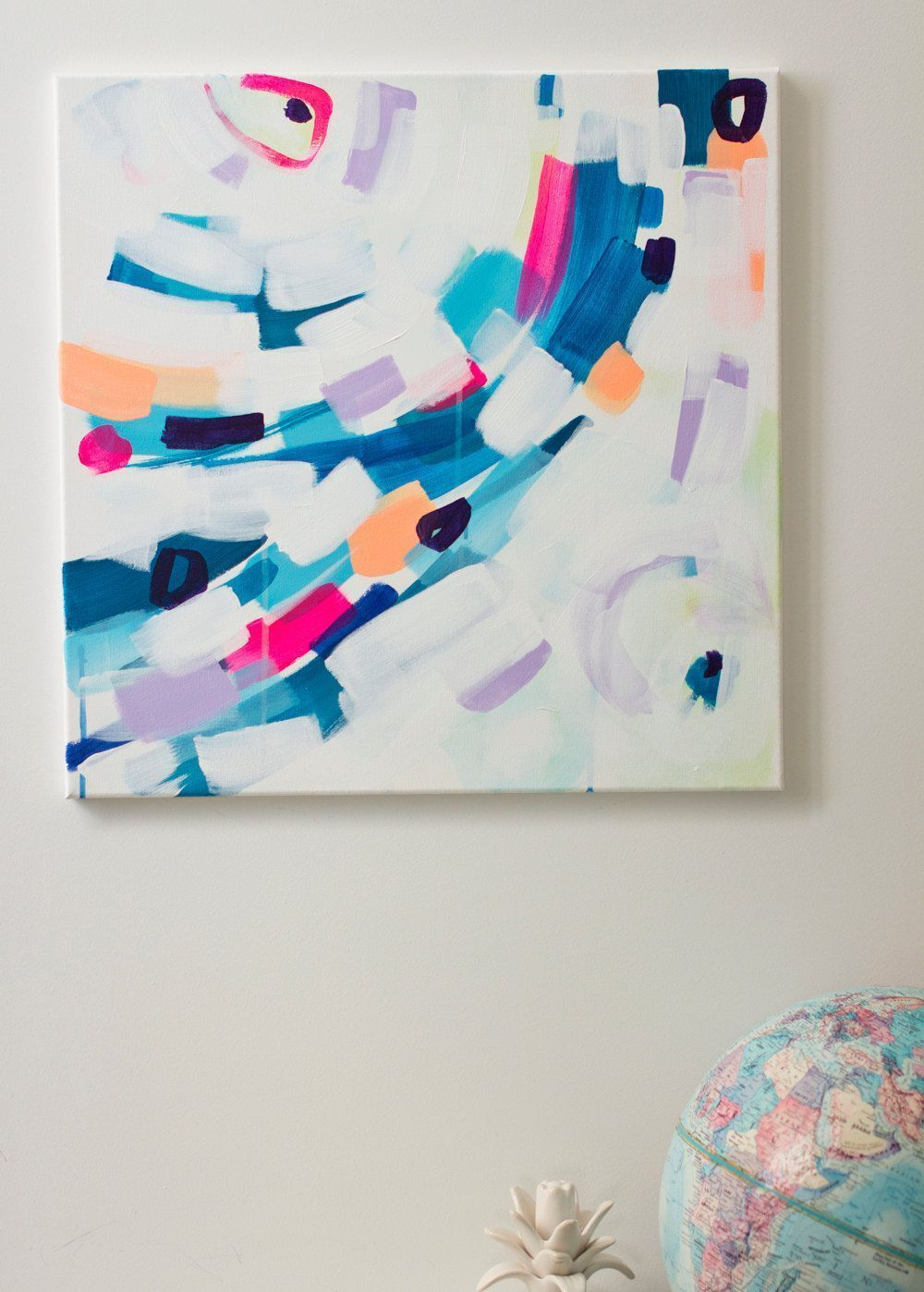 mm  stretched canvas contemporary abstract artwork blue sweeping lines on  fresh white background with pops of pink and yellow also rh pinterest