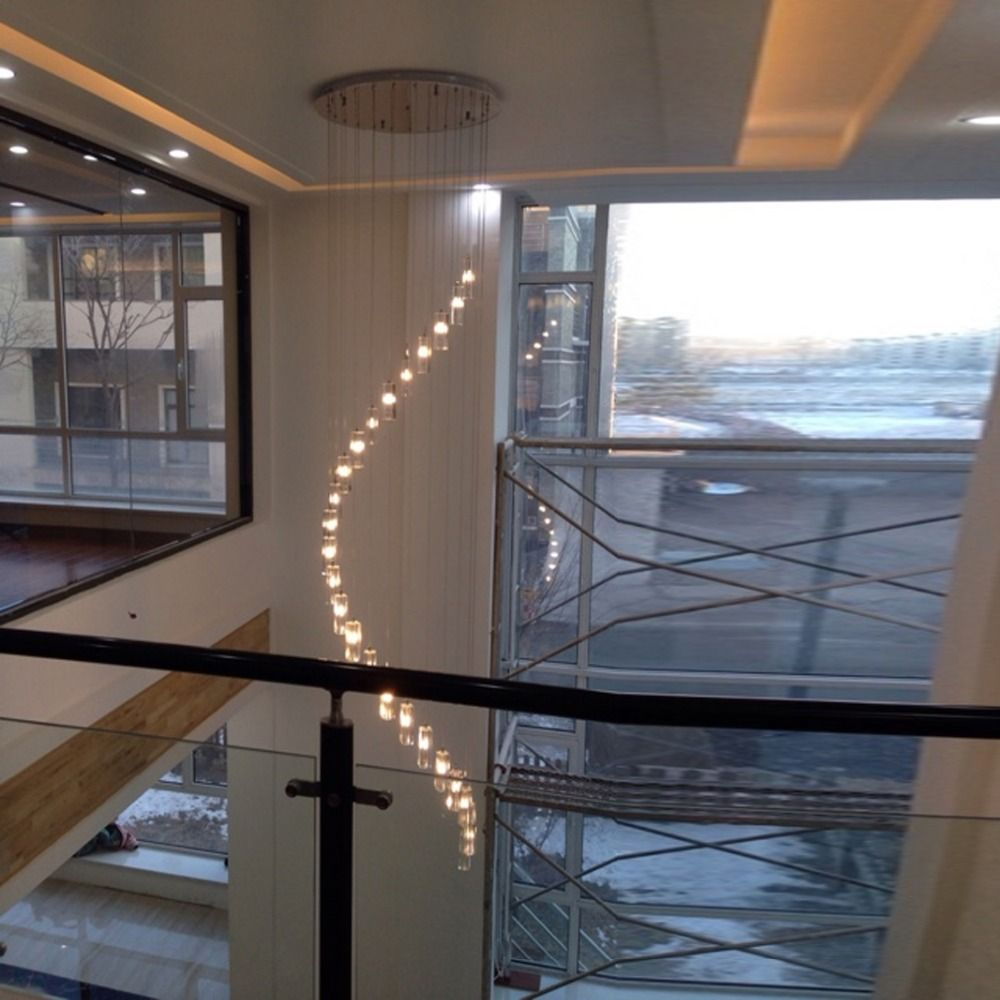 Modern Crystal Chandelier Stair Long Spiral Crystal Chandelier