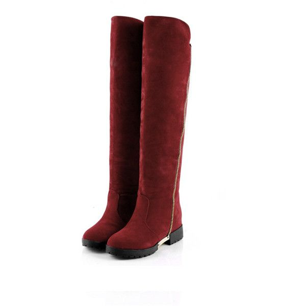 Red Suede Thigh High Low Heel Boots