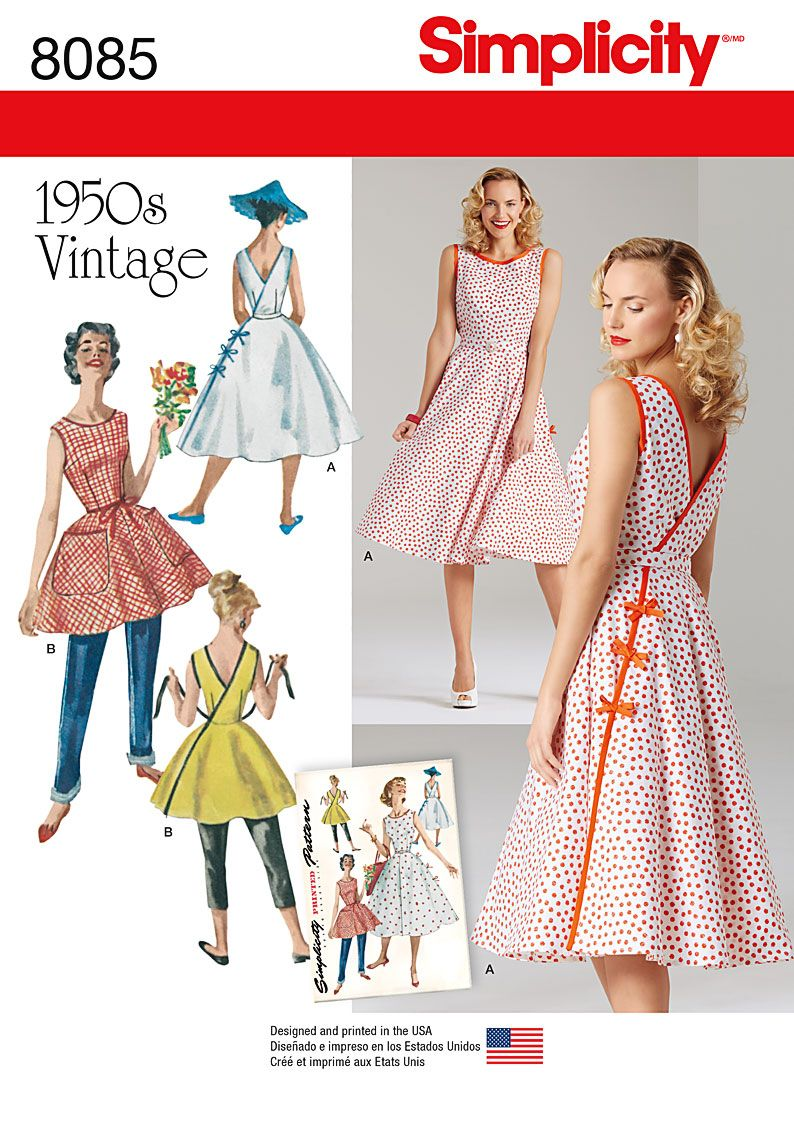 Simplicity 8085 Misses\' Vintage 1950\'s Wrap Dress in Two Lengths ...