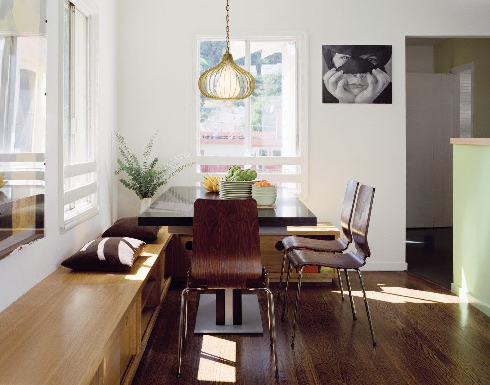 Dining Room Booth Modern With Custom Cabinetry Dark Floor