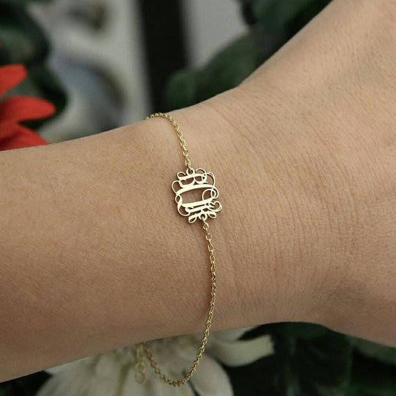 14k Solid GoldMonogram BraceletBridesmaid Gift Jewelry14k Gold