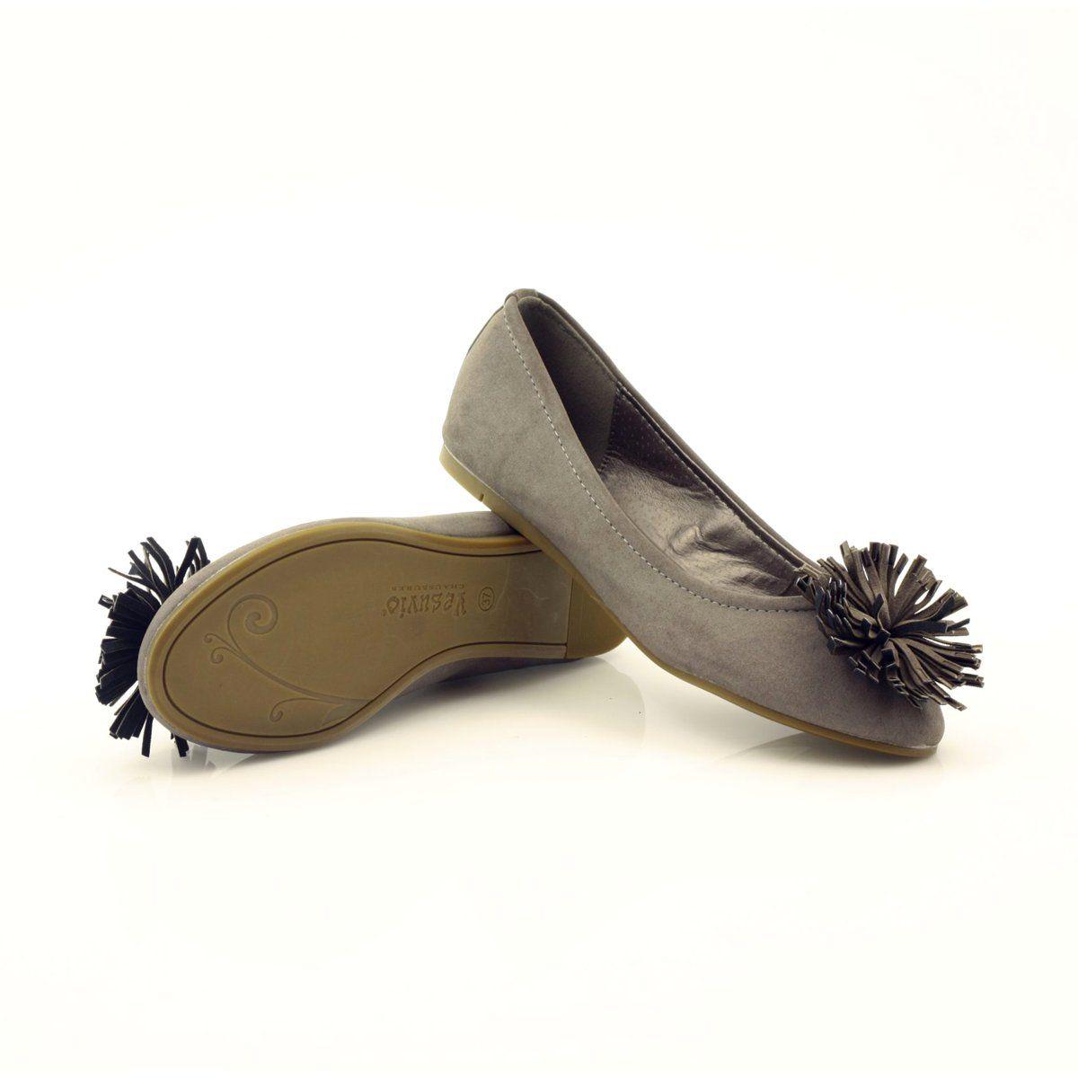 Gray Ballerinas With Flower Mcarthur 11 Gr Ballet Pumps Mcarthur High Heels