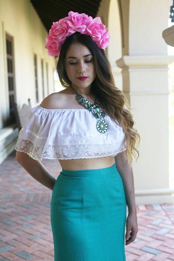 Pink Green Flower Crown Headband (Winter Wedding Bridal Headpiece Bride Party Music Festival Boho Gypsy Bridesmaids Adult Wreath Party) #crownheadband