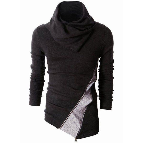 Hombre Cuello Alto Sweatshirt Suéter Tops Casual Manga Larga Camiseta Irregular Pulóver wSLmgpfS