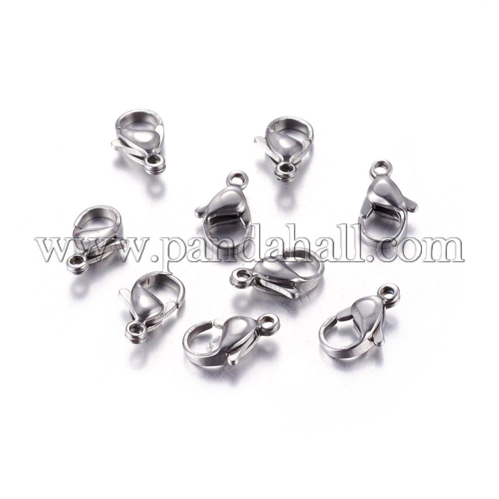60-Piece Mix Lobster Claw Clasps for Jewelry Making 12mm Silver Gold Black AD