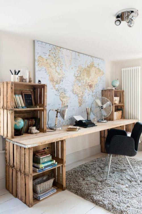 Praktische und stylische DIY Bastelideen mit Holzkisten Future - homeoffice einrichtung ideen interieur