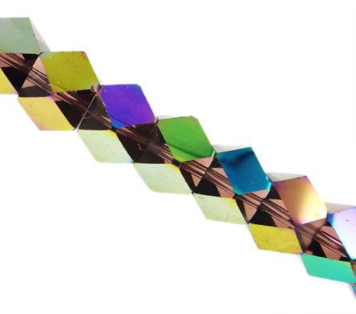 1 Strang Kristallglas Würfel lila 10 mm