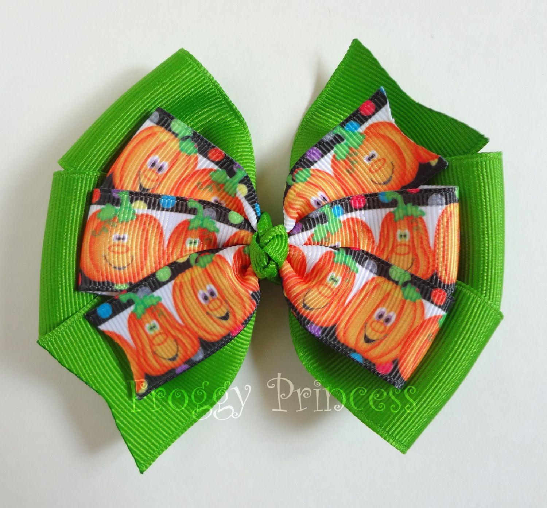 Pumpkin Pinwheel Hair Bow