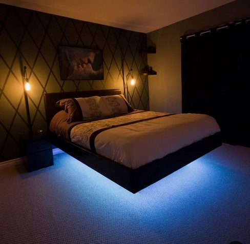 Led Strip Light Single Color 32 Foot Kit Bed Frame Design Remodel Bedroom Floating Bed Frame