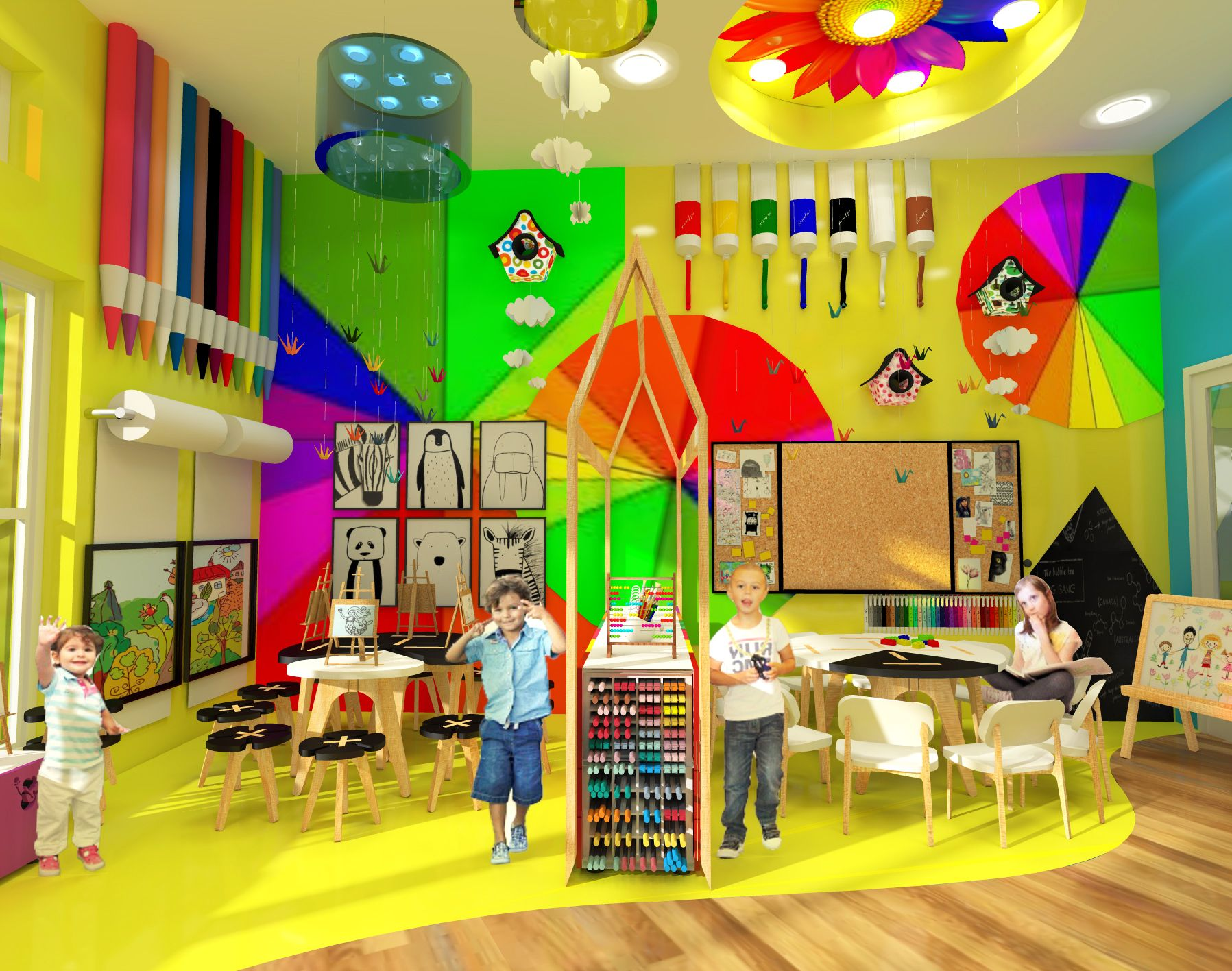 Kindergarten Playroom Design - Colorful Spaces - Mandala Floor -