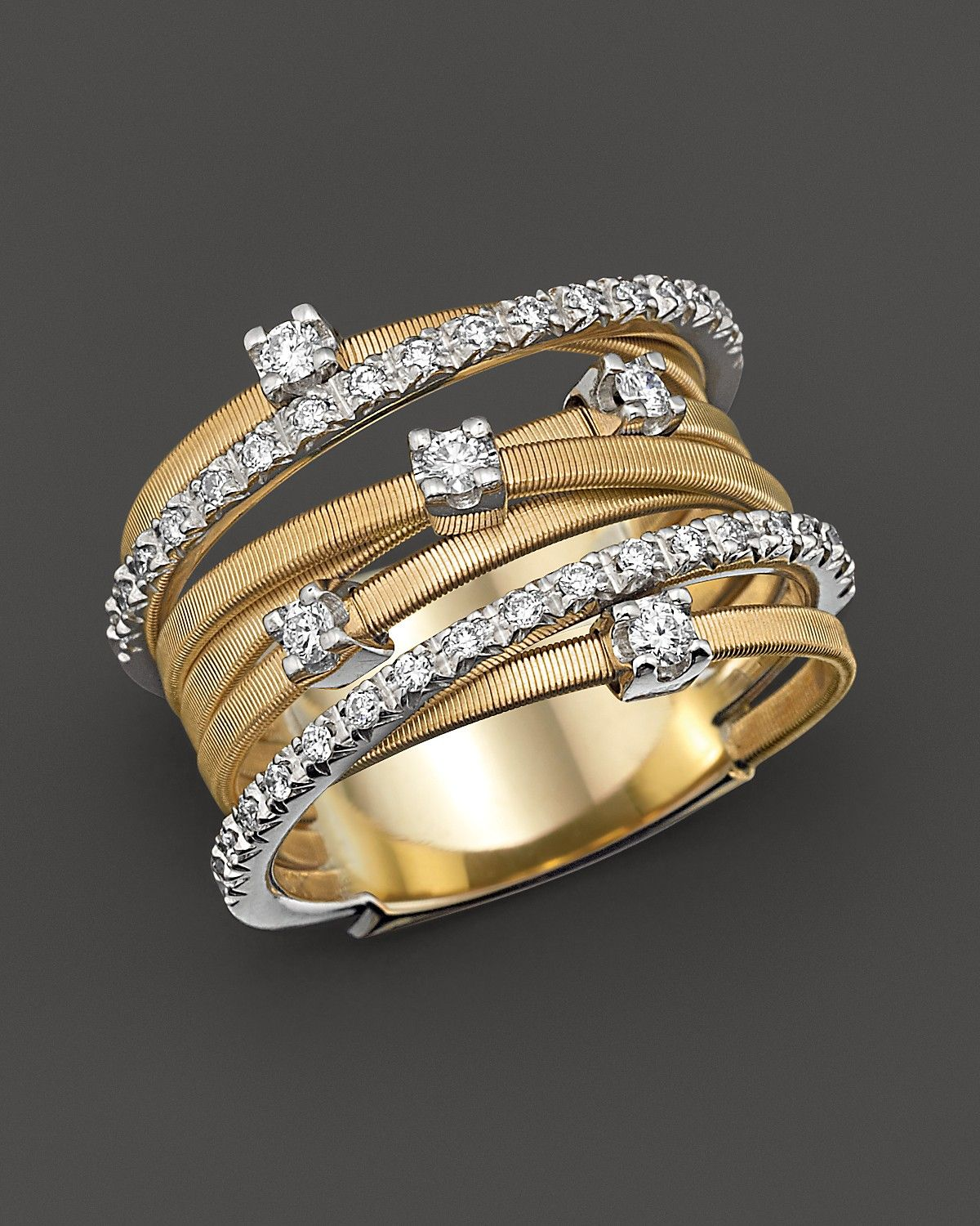 2676ac944 18K Yellow Gold Goa Seven Row Ring with Diamonds   Rings   Jewelry ...