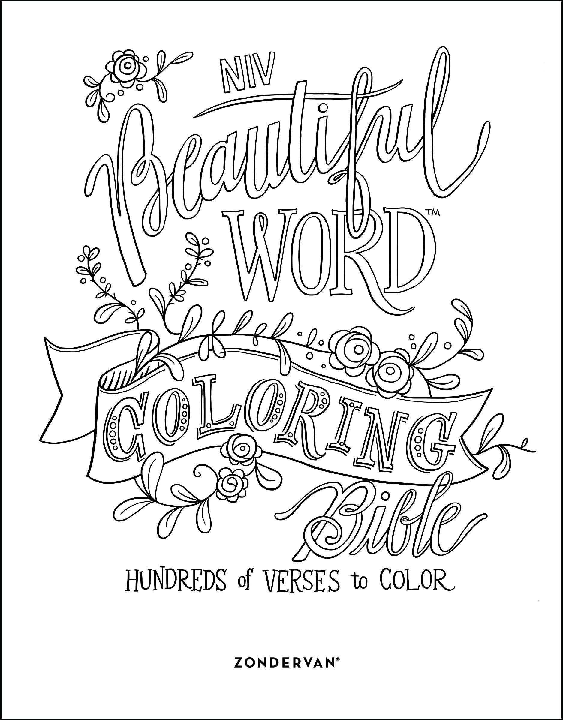 NIV Beautiful Word Coloring Bible Hardcover Hundreds Of Verses To Color Zondervan