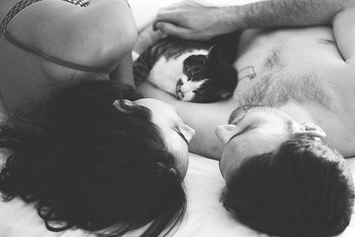 The cat will never come between us! cute <3