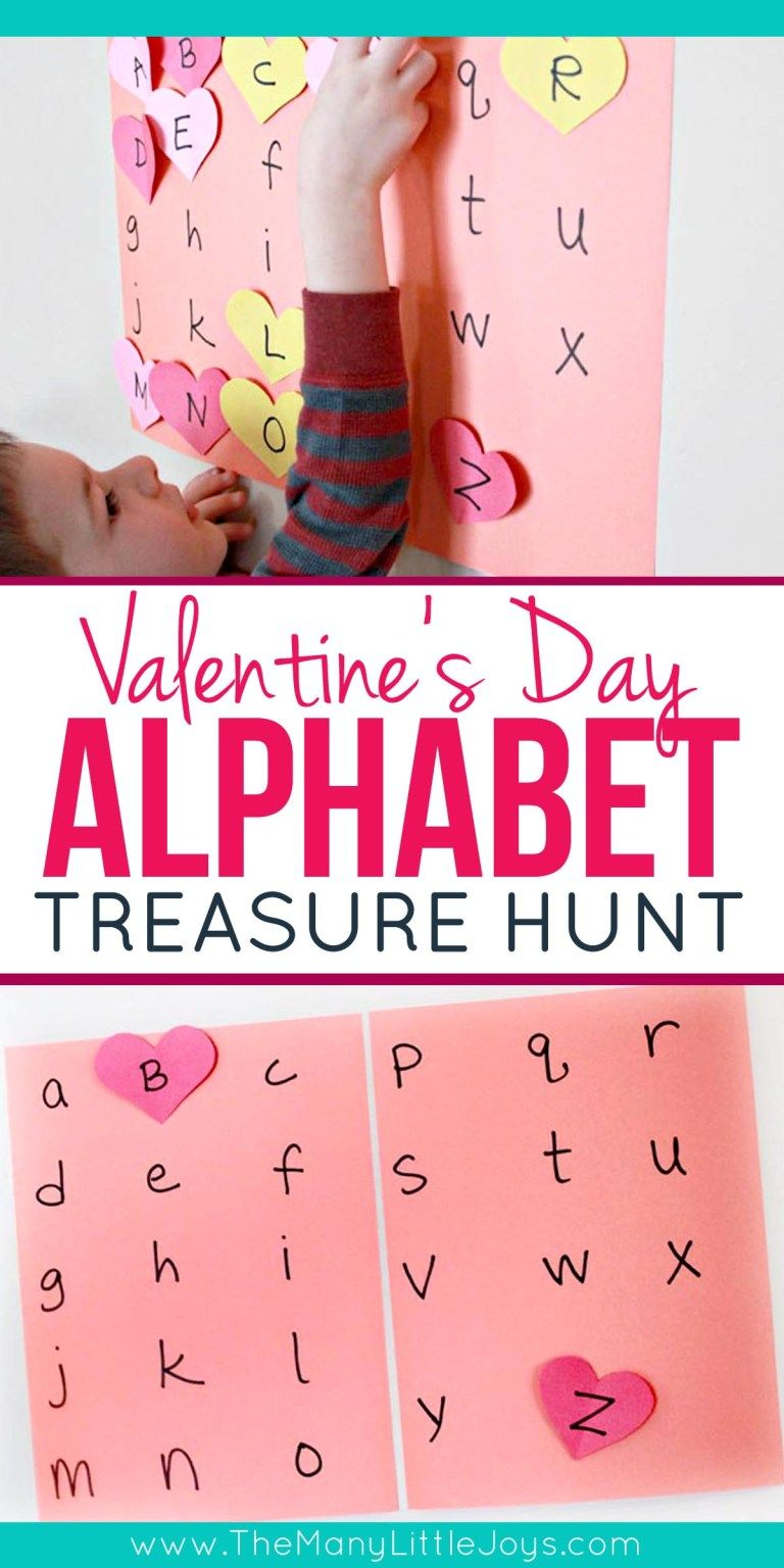 Valentine's alphabet treasure hunt Valentine activities