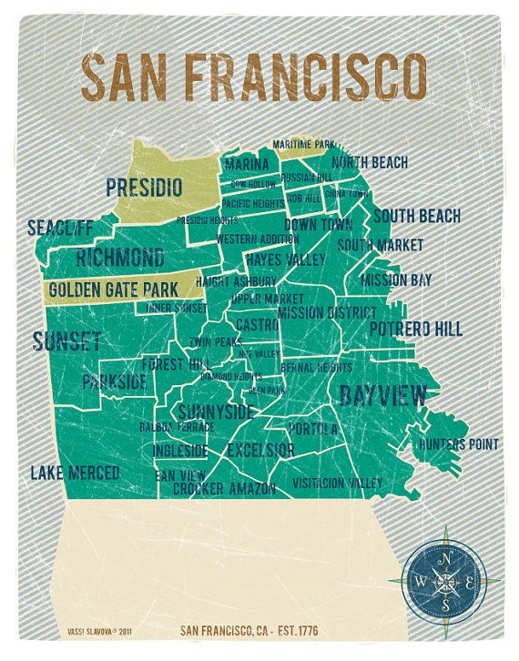 San Francisco City Map In Turquoise Vintage Style Print 11x14 Art
