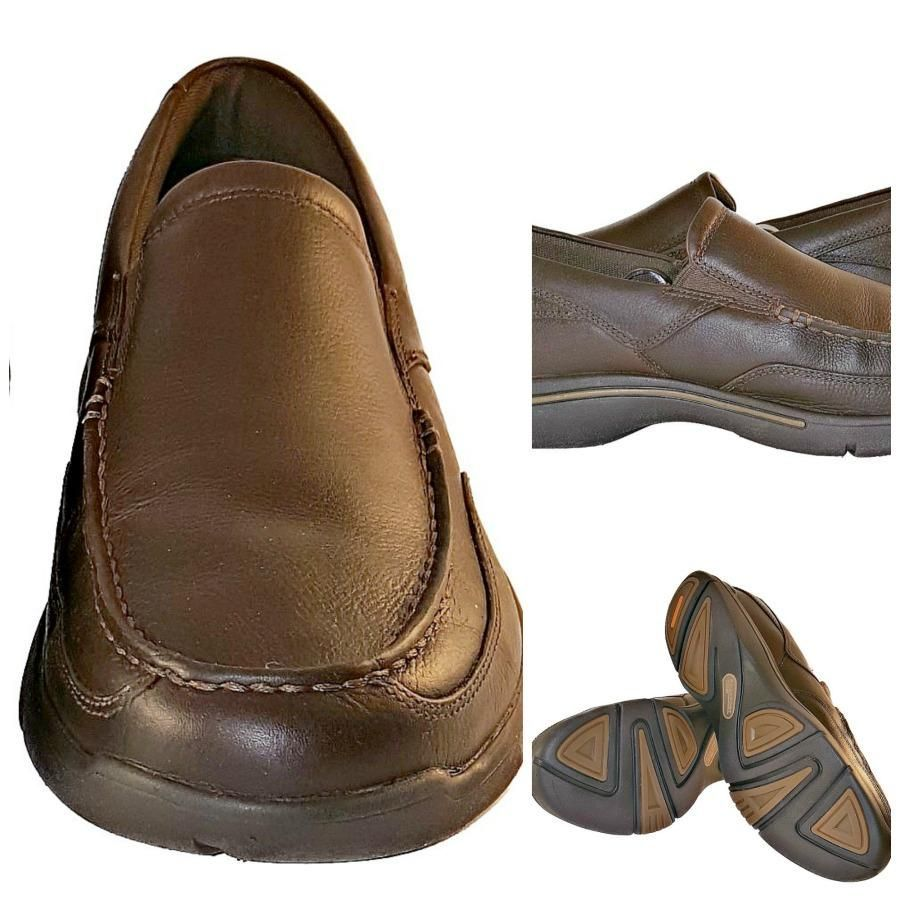 Rockport Capital Slip On Driving Mocs Loafers Shoes Brown Leather Mens Size  9.5