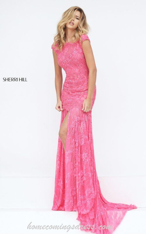 Coral Sherri Hill 50023 Lace Mermaid Sexy Senior Prom Dress | Prom ...