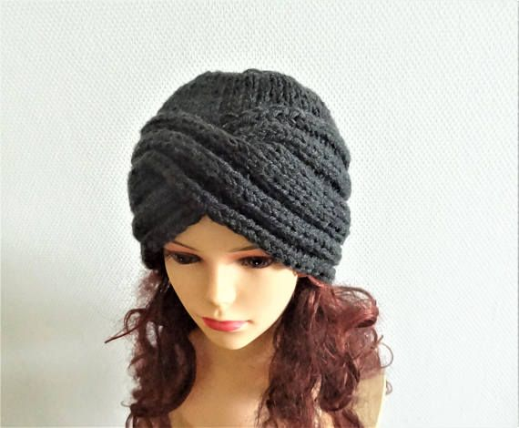 Hand knit turban hat Knit women hat Fall Winter Accessories womens ...