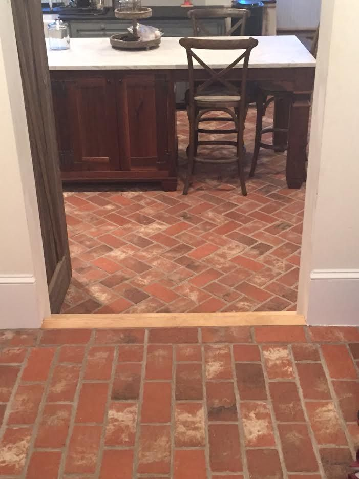 This Brick Kitchen Floor Is The Wright S Ferry Tiles In A Custom Color Mix Notice The Step Down Transi Transition Flooring Brick Flooring Brick Floor Kitchen