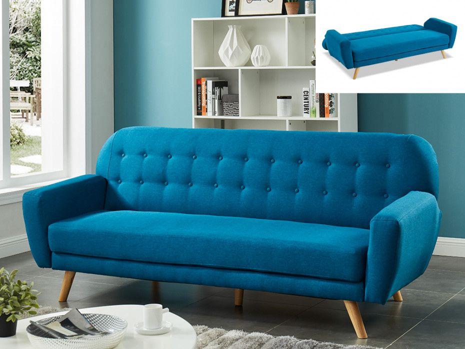 Canape 3 Places Convertible Clic Clac En Tissu Lelio Bleu En