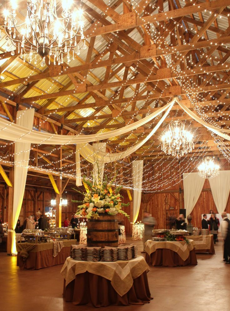 30 romantic indoor barn wedding decor ideas with lights for Wedding venue decoration ideas pictures