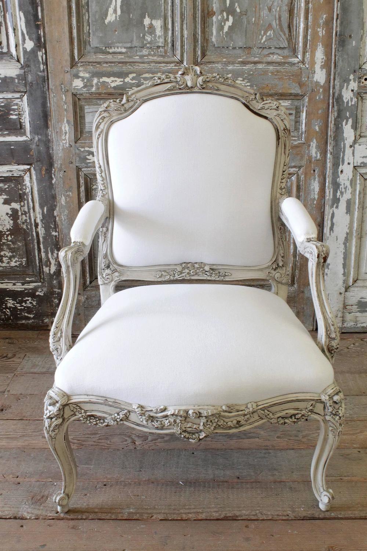 Louis Xv Painted Armchair In Homespun Linen 1stdibs Com