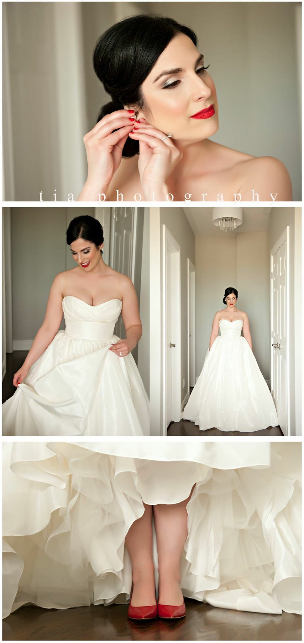 Bride Red Lip Red Shoes Red Nails Bride One Shoulder