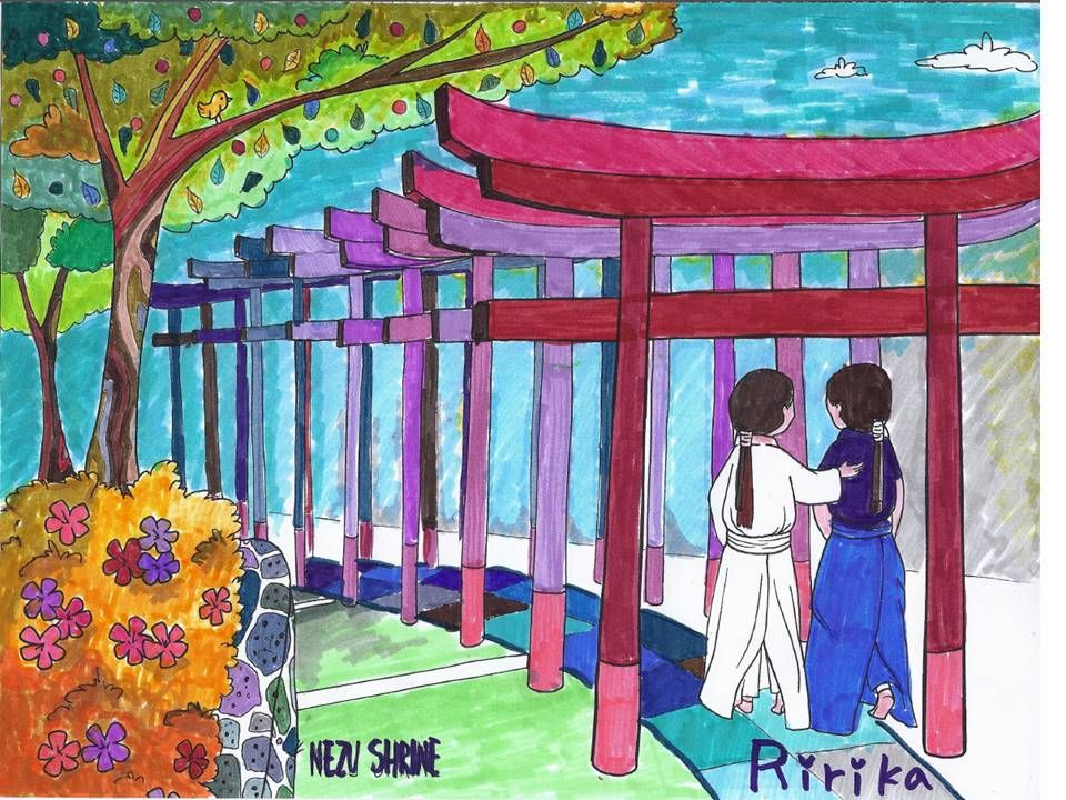 "Nezu Shrine from ""Colorful Tokyo - Explore & Color"". Colored by Ririka!"