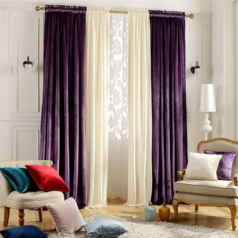 Home Window Decoration Wedding Purple Velvet Curtains Blackout Bedroom Living Room Dining Finished Custom