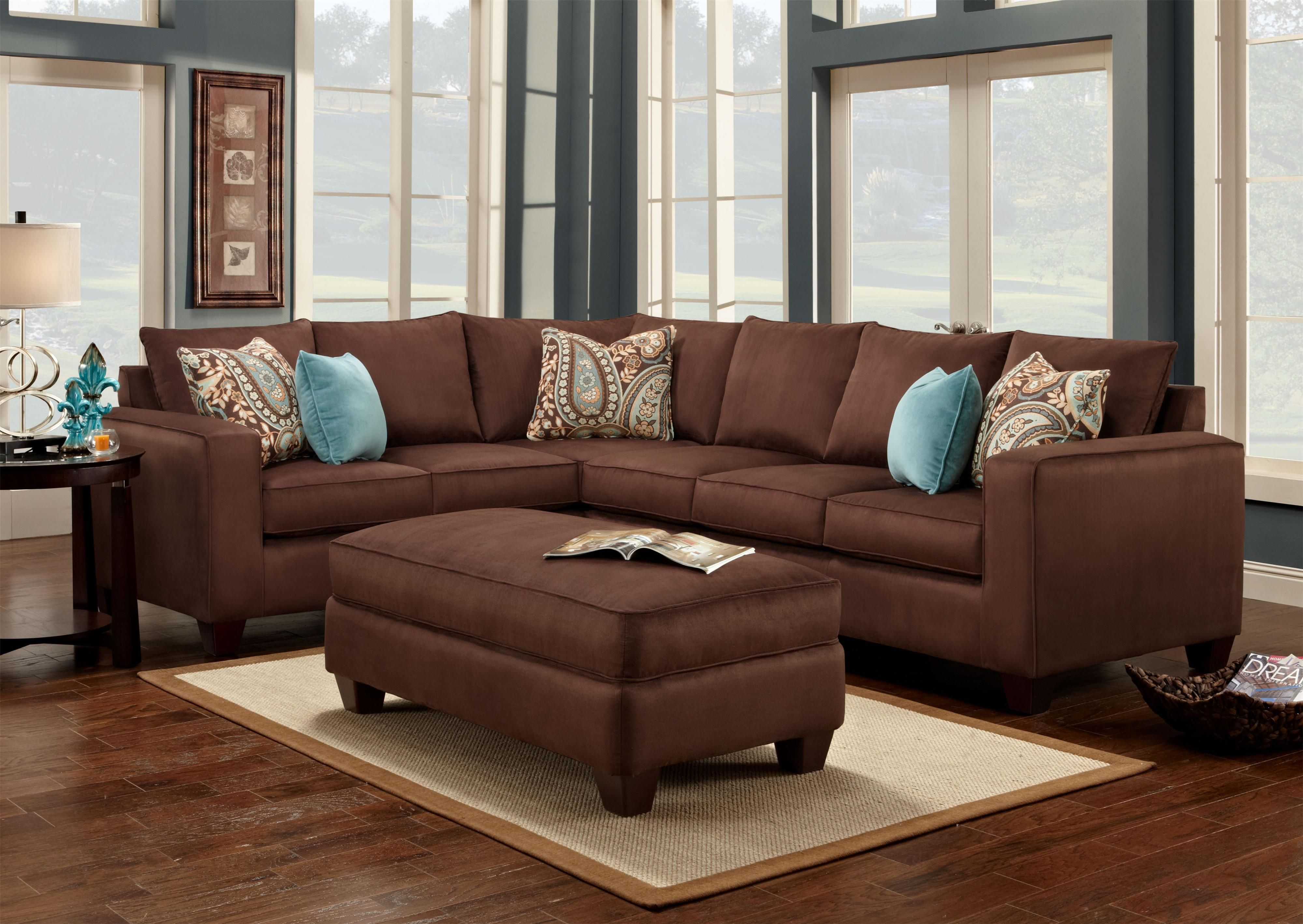 Turquoise And Chocolate Brown Living Room Decor Brown Couch