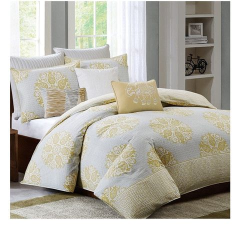 Modern Color Mix Of Yellow And Grey Mirna Comforter Set
