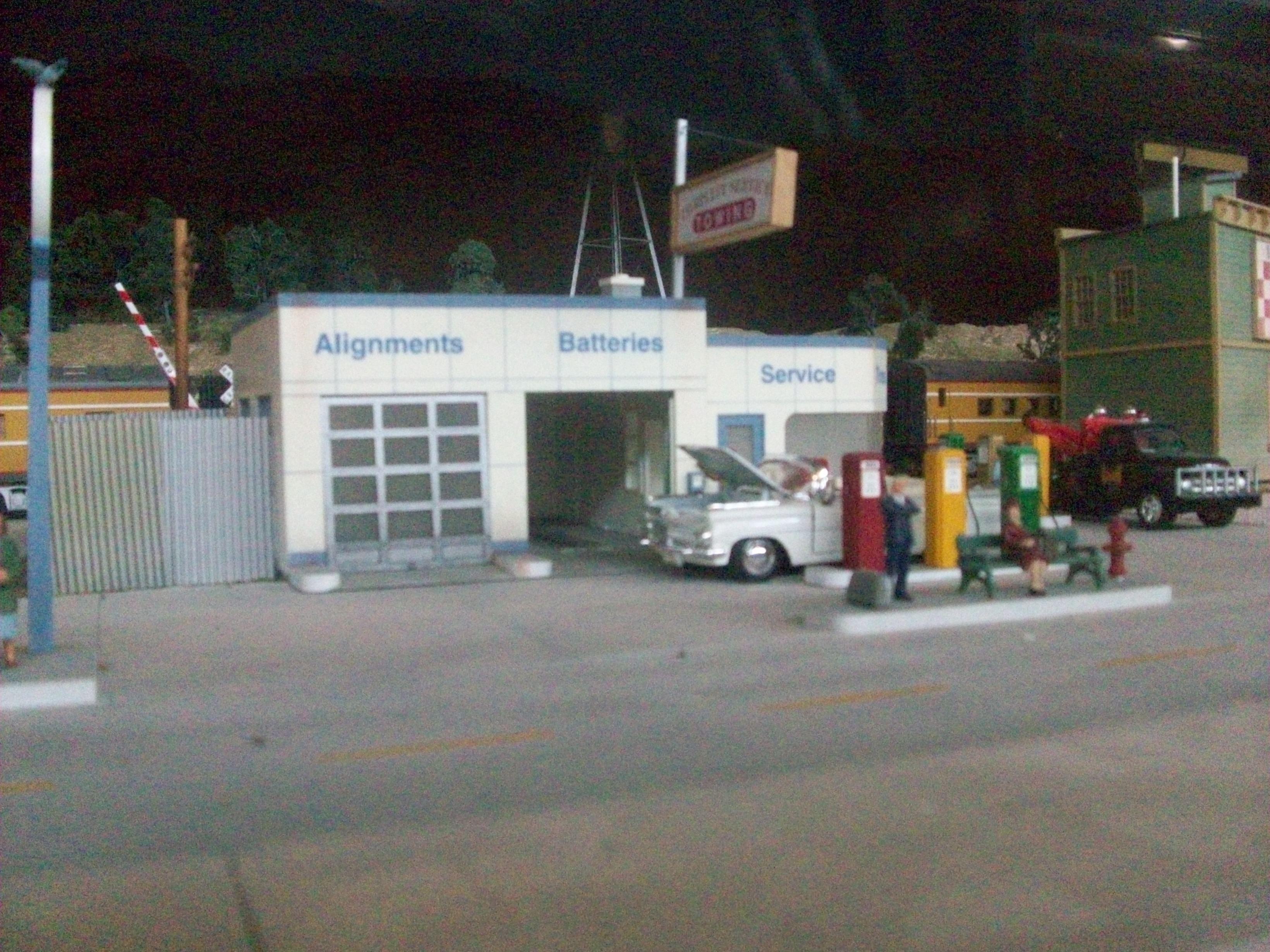vintage gas station, part of model train village at Durham Museum ...