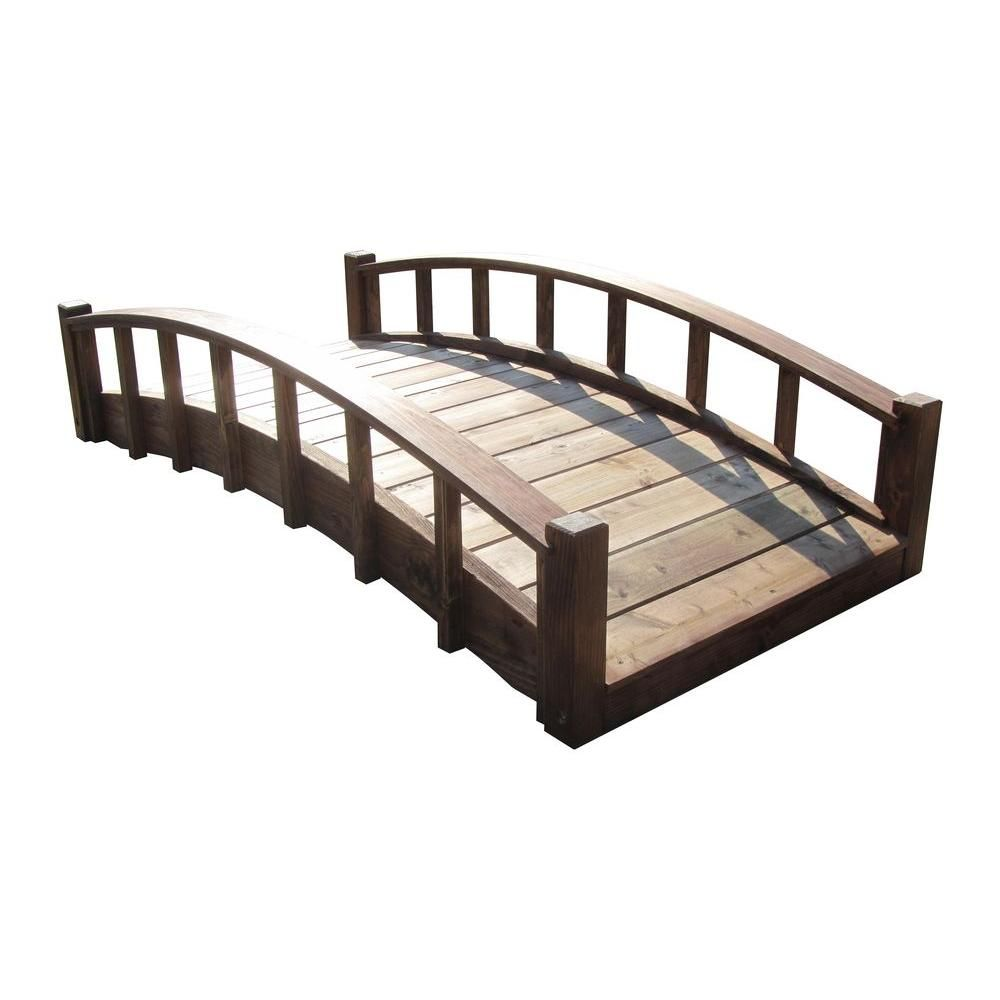 japanese wood garden moon bridge with arched railings treated