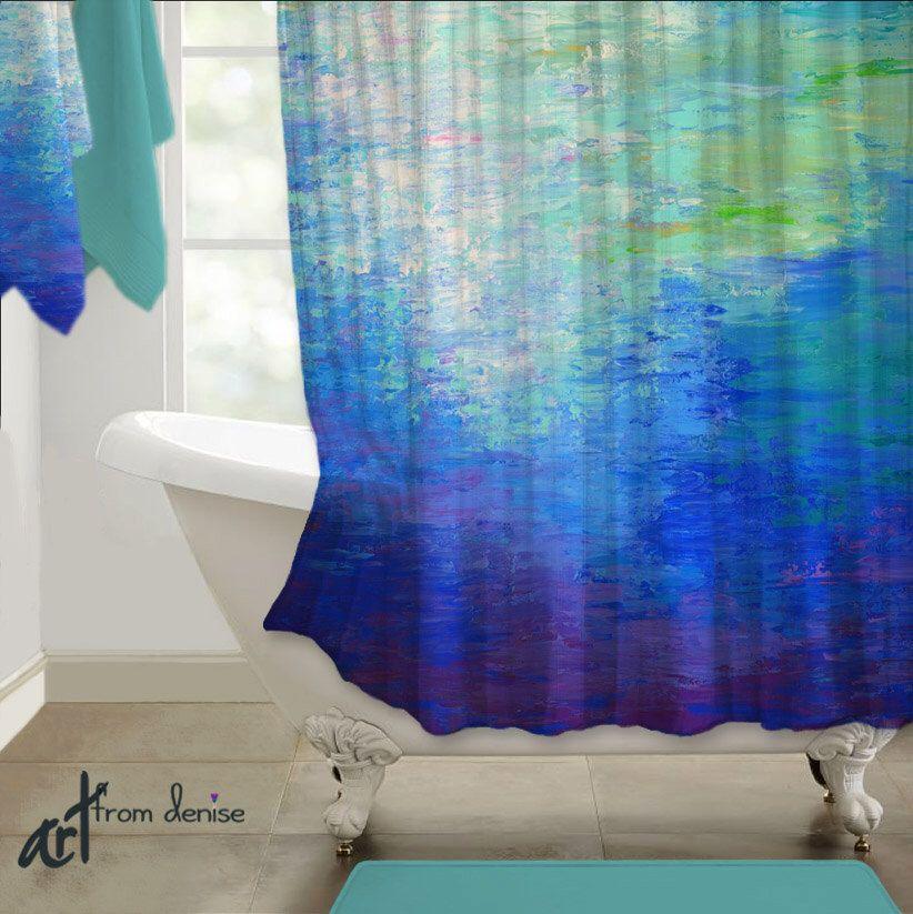 modern shower curtain, abstract art, cobalt blue teal purple jewel