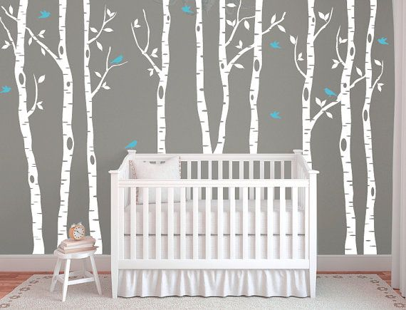 Birch Tree Decals For Walls Wall Mural Decal White Nursery Vinyl Db320