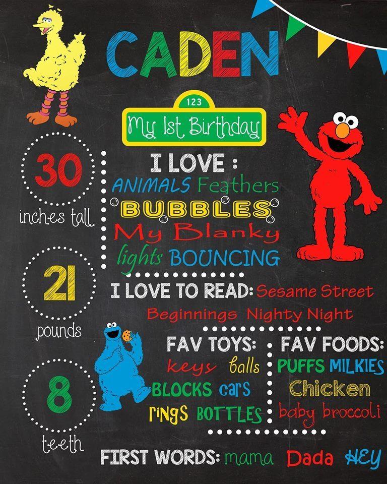 Sesame Street Birthday Chalkboard