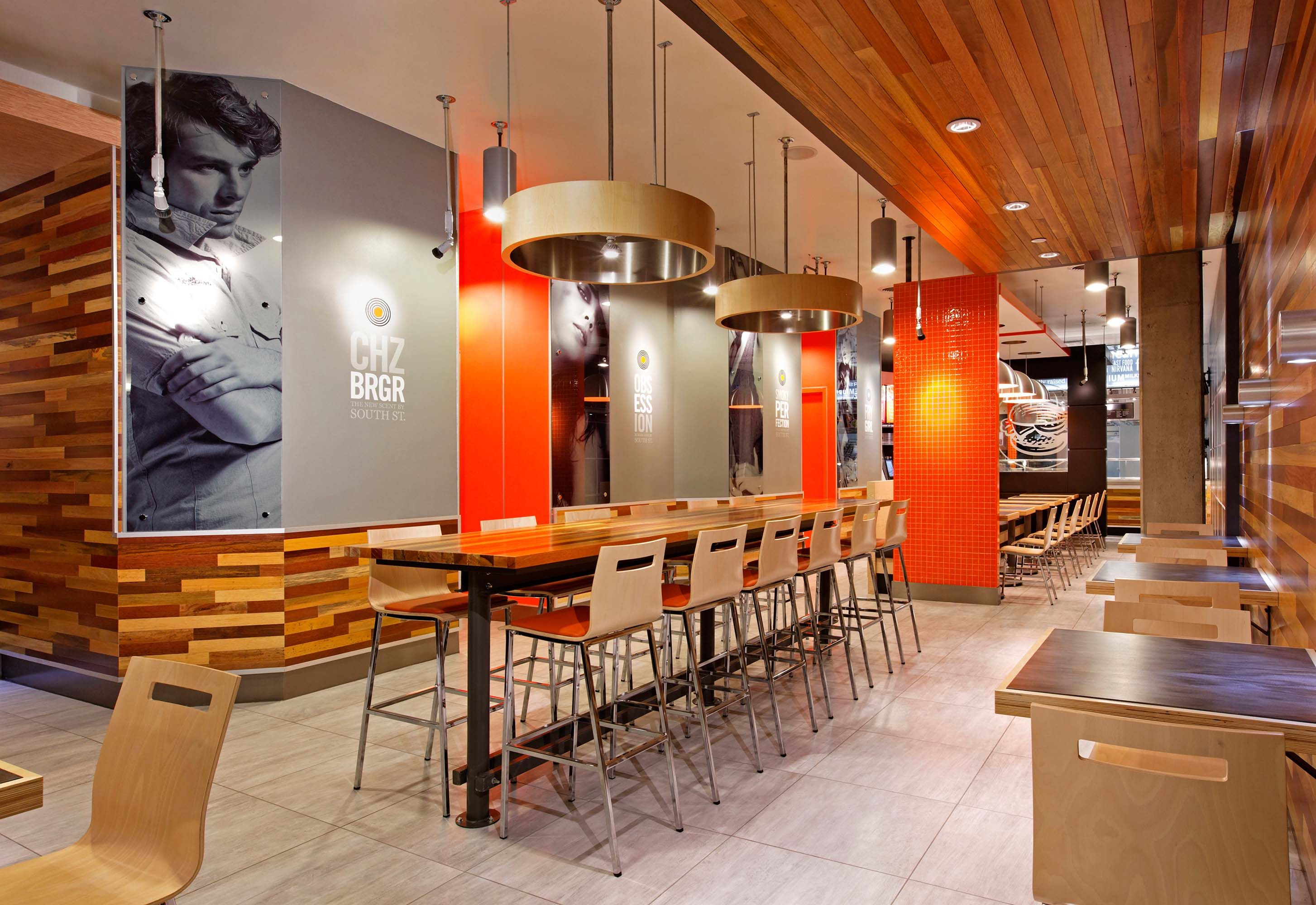 South st burger company interior restaurant design