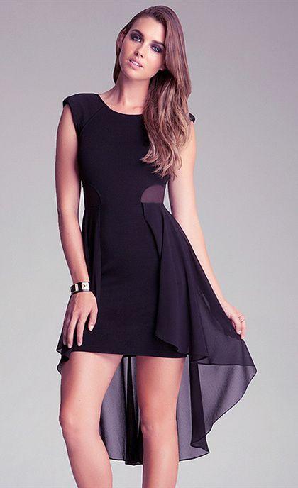 477935f1f222 Black Round Neck Mesh Insert High Low Swallow Tail Chiffon Dress ...