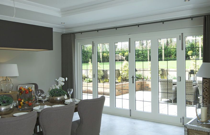 Timber Bifold Doors With Leaded Light Windows White Internal By